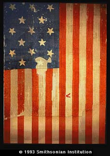 Photo of the Star-Spangled Banner at the National Museum of American History.